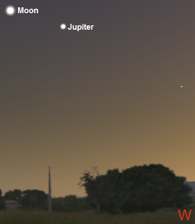 The Moon and Jupiter after sunset on July 9th from New York City (credit:- stellarium/freestarcharts)