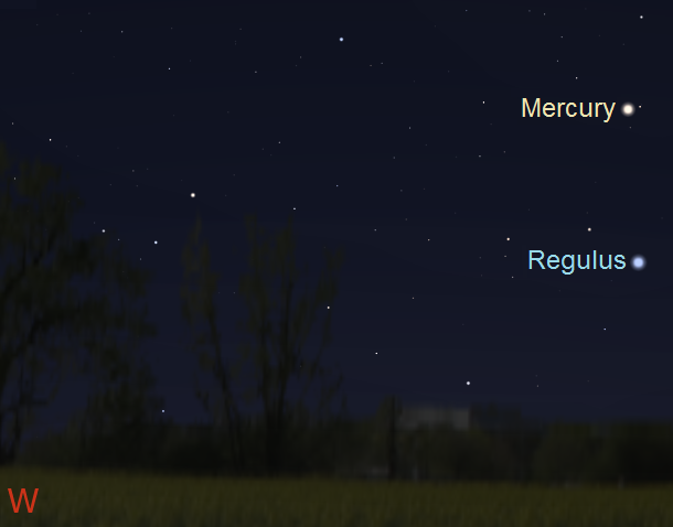 Mercury 45 minutes after sunset from mid-latitude southern locations on July 30, 2017 (credit:- stellarium/freestarcharts)