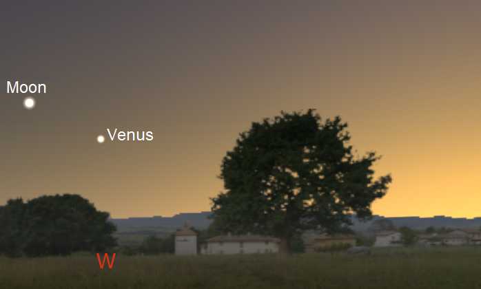 Venus and the Moon early evening on July 16, 2018 (credit:- stellarium/freestarcharts)