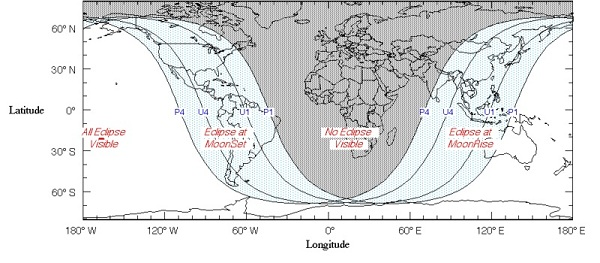 Areas of Visibility of the June 4, 2012 Partial Lunar Eclipse (Fred Espenak/NASA)