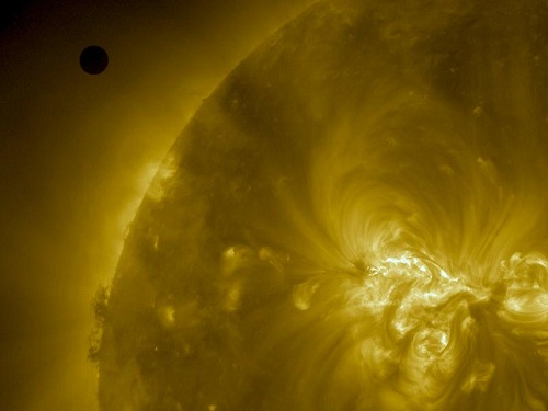 NASA's Solar Dynamics Observatory shows Venus as it nears the disk of the sun on June 5, 2012 (NASA/SDO, AIA)