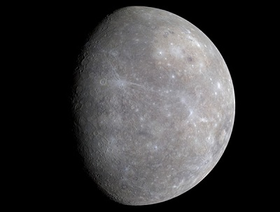 Mercury is a somewhat challenging early evening object during June (NASA Messenger image)