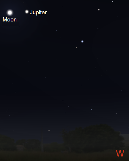 The Moon and Jupiter after sunset on June 11th from New York City (credit:- stellarium/freestarcharts)