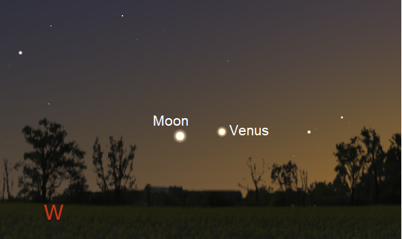 Venus and the crescent Moon, as seen from mid-latitude northern locations, just after sunset on June 16, 2018 (credit:- freestarcharts)