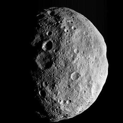 Vesta as imaged by the NASA Dawn spacecraft (credit:- NASA/JPL-Caltech/UCLA/MPS/DLR/IDA)