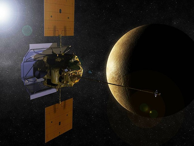 Artist's impression of the MESSENGER spacecraft orbiting Mercury (NASA)