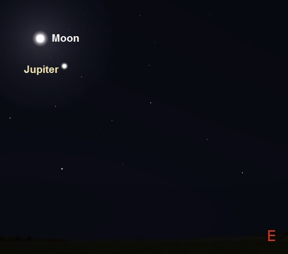 Jupiter and the Moon as seen from Cape Town, South Africa in early evening on March 21, 2016 (credit:- freestarcharts)