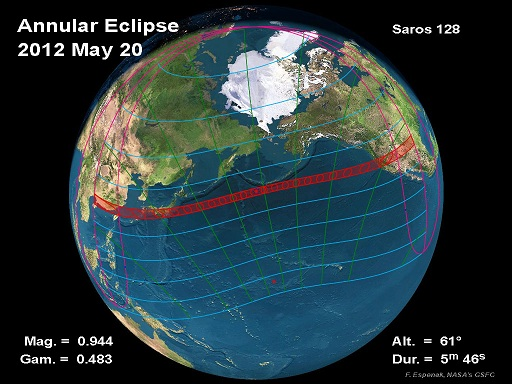 Path of May 20, 2012 Annular Eclipse (Fred Espenak/NASA)