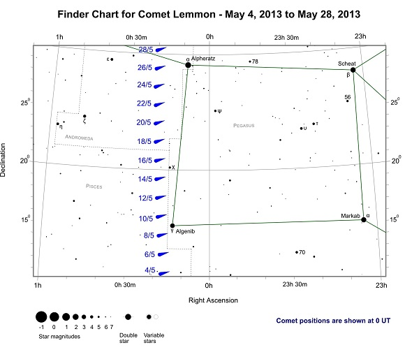 Finder Chart for Comet Lemmon from May 4 to May 28, 2013