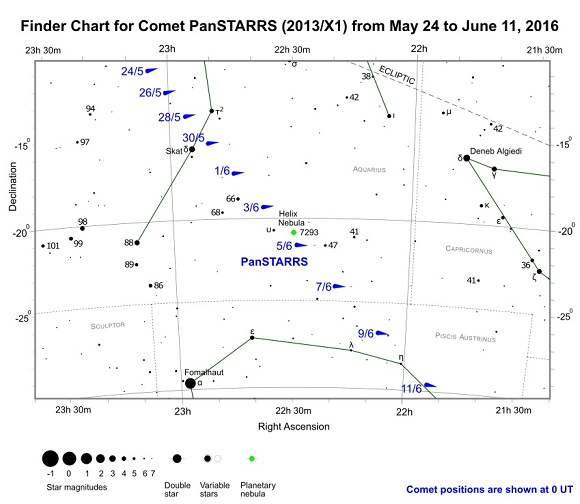 Comet C/2013 X1 PanSTARRS Finder Chart from May 24 to June 11, 2016 (credit:- freestarcharts)