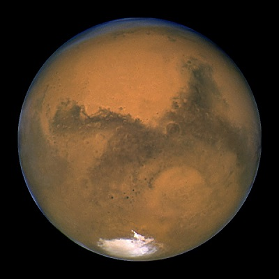 Hubble Space Telescope image of Mars on August 26, 2003 (credit:- NASA/J. Bell/M. Wolff)