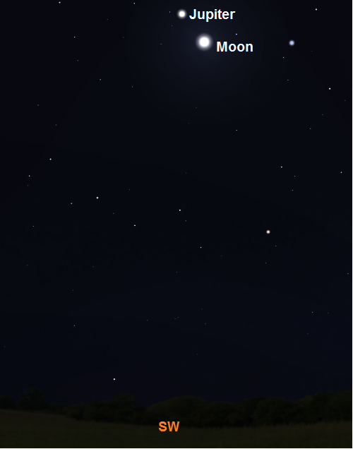 Moon and Jupiter just after sunset on May 14th from New York City (credit:- stellarium/freestarcharts)