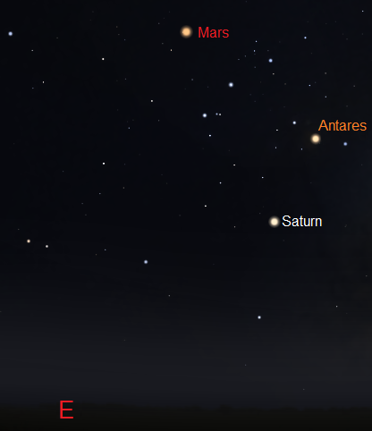 View looking towards the east just after sunset on June 3, 2016 from Cape Town, South Africa (credit:- stellarium/freestarcharts)