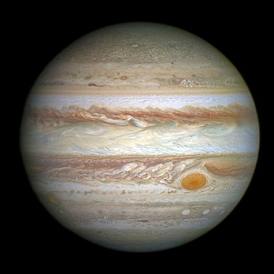 Jupiter as imaged by Hubble Space Telescope on April 21, 2014 (credit:- NASA, ESA, and The Hubble Heritage Team (STScI/AURA))