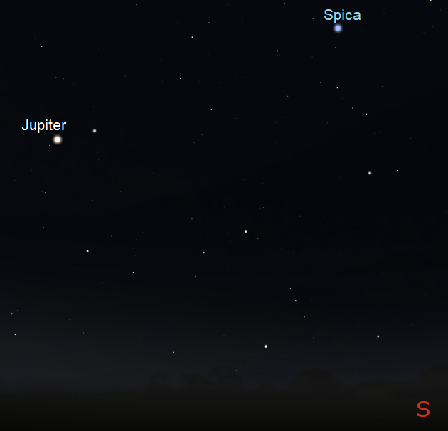 Jupiter as seen just before midnight on May 9th from mid-northern latitudes (credit:- stellarium/freestarcharts)