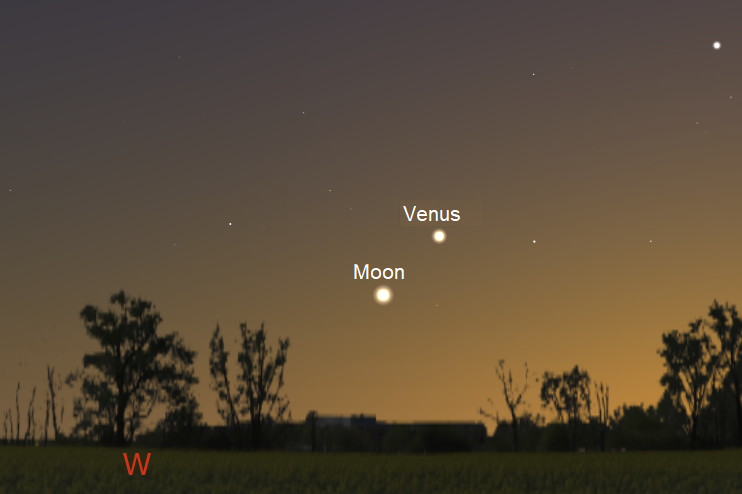 Moon and Venus just after sunset from northern latitudes on May 17, 2018 (credit:- freestarcharts / stellarium)