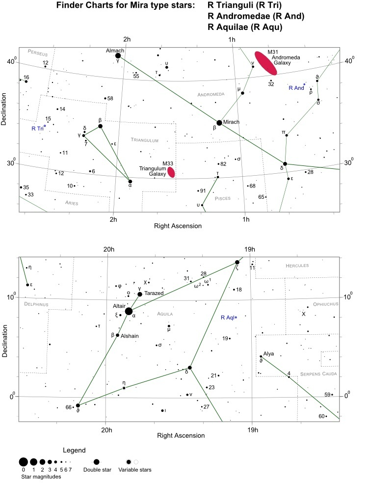 R Tri, R And and R Aqu finder star charts