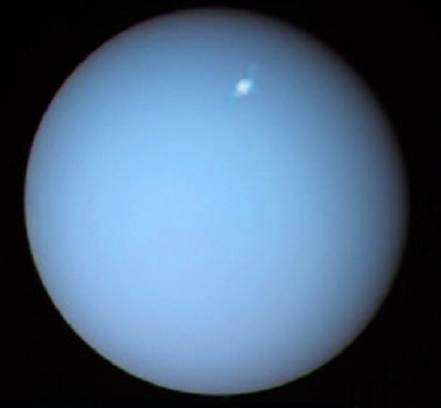 Uranus as imaged by the Hubble Space Telescope (credit:- HST/NASA/ESA/Lamy)