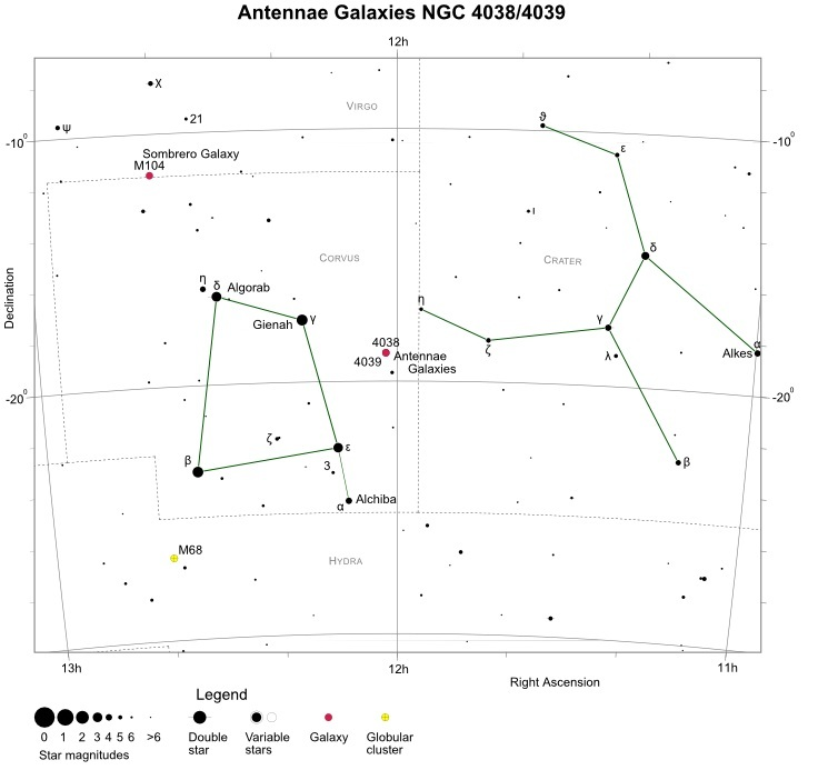 Antennae Galaxies (NGC 4038/4039) finder chart