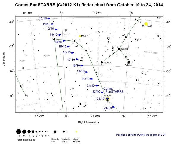 Comet PanStarrs (C/2012 K1) Finder Chart from October 10 to October 24, 2014