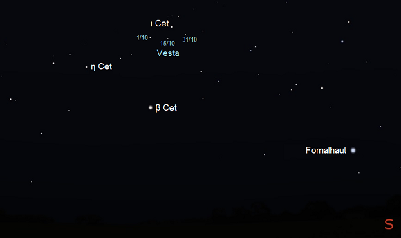 Vesta from mid-northern latitudes during October in early evening (credit:- freestarcharts)