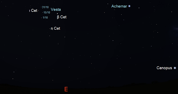 Vesta from mid-southern latitudes during October in early evening (credit:- freestarcharts)