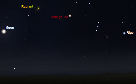 View towards east around midnight from mid-northern latitudes on night of October 21st (credit:- stellarium / freestarcharts)