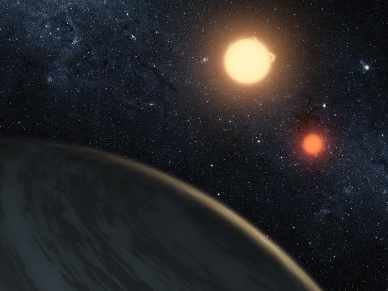 In the Light of Two Suns - Artist's illustration of Kepler-16b (NASA/JPL-Caltech/T. Pyle)