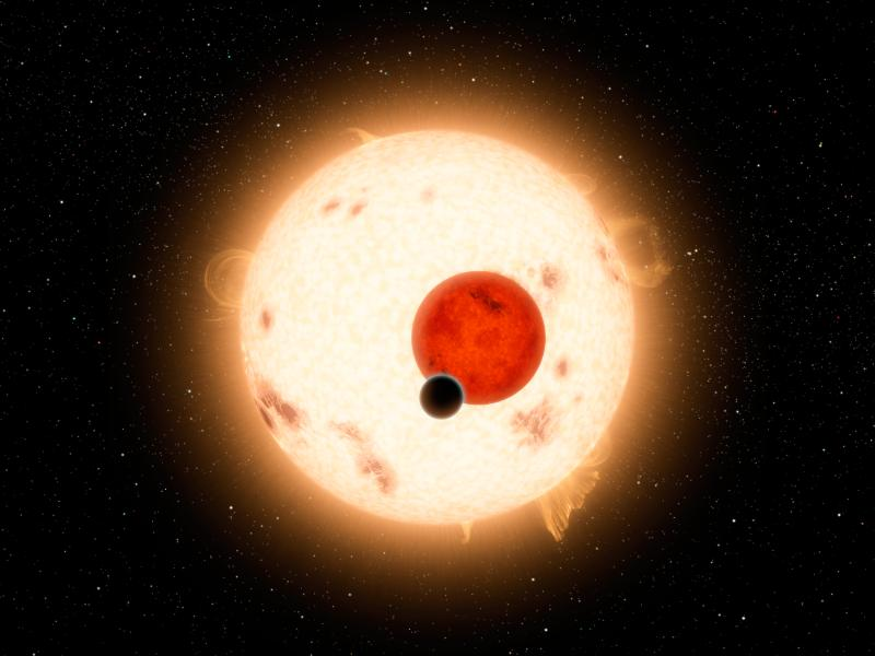 Where the Sun Sets Twice - Artist's illustration of Kepler-16b (NASA/JPL-Caltech/R. Hurt)