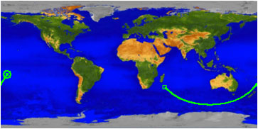 Map showing the ground track for UARS beginning in the Indian Ocean off the coast of Africa at 0330 GMT and ending at atmospheric interface over the Pacific Ocean at 0400 GMT. (NASA)
