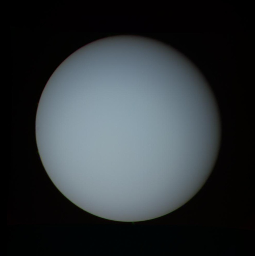 Uranus as imaged by Voyager 2 on 17th January 1986 (NASA)