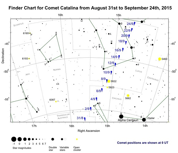 Comet Catalina (C/2013 US10) Finder Chart from August 31st to September 24th, 2015 (credit:- freestarcharts)