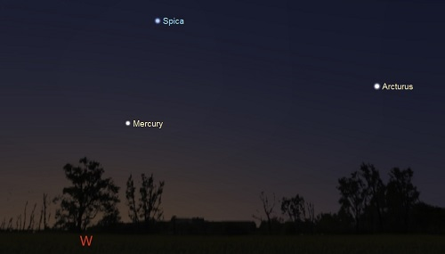Mercury, Spica and Arcturus 45 minutes after sunset on September 4th from latitude 35S (credit:- Stellarium)