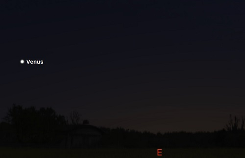 Venus as seen from mid-southern temperate latitudes 45 minutes before sunrise on September 21st (credit:- stellarium)
