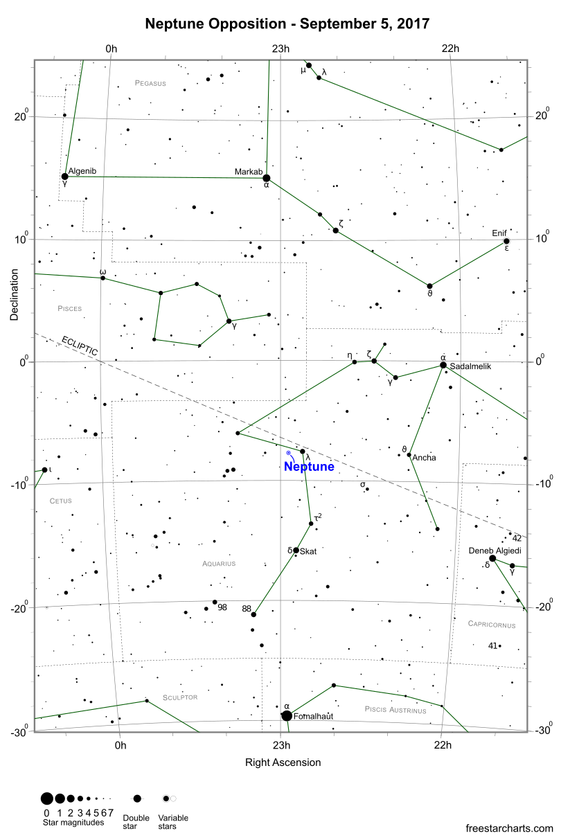 Neptune Opposition Finder Chart - September 5, 2017 (credit:- freestarcharts)