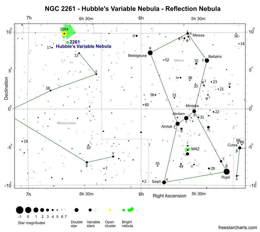 Finder Chart for NGC 2261 (credit:- freestarcharts)