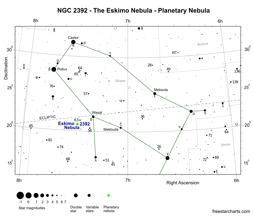 Finder Chart for NGC 2392 (credit:- freestarcharts)
