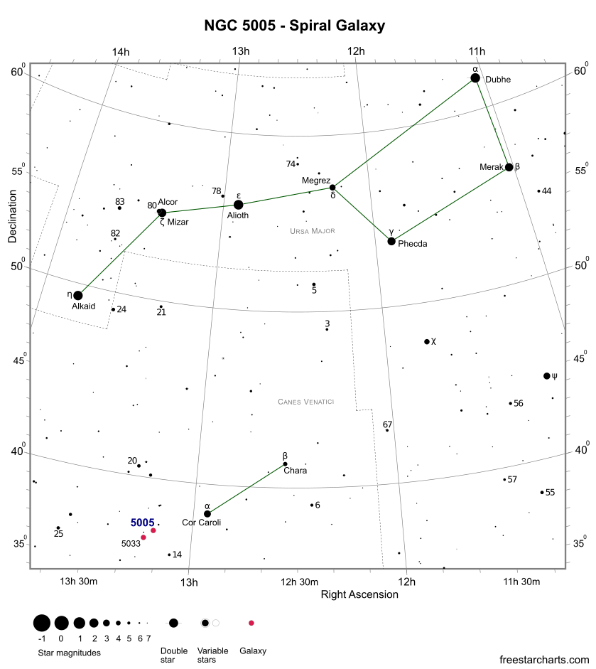 Finder Chart for NGC 5005 (credit:- freestarcharts)