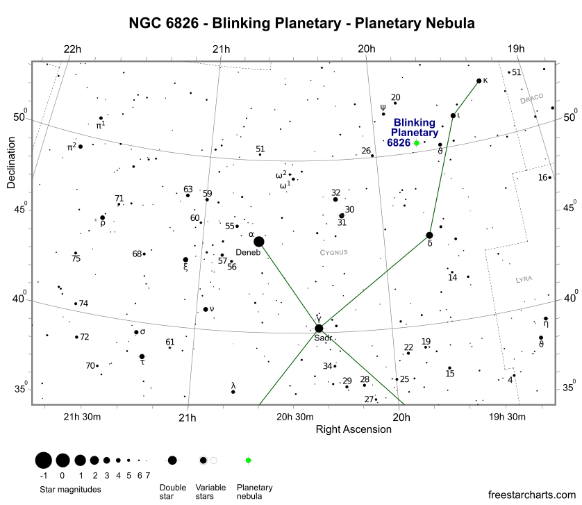 Finder Chart for NGC 6826 (credit:- freestarcharts)