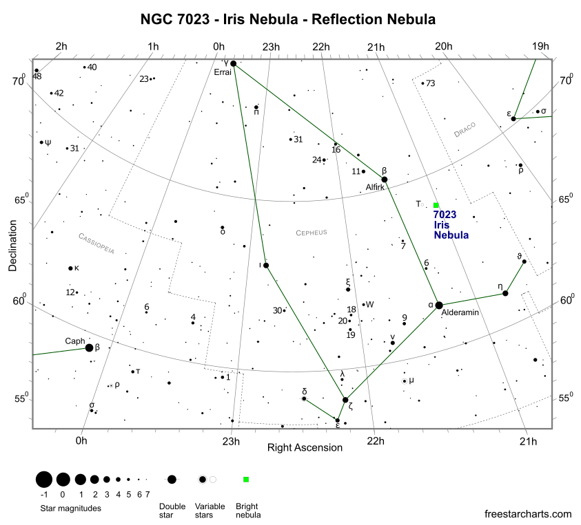 Finder Chart for NGC 7023 (credit:- freestarcharts)