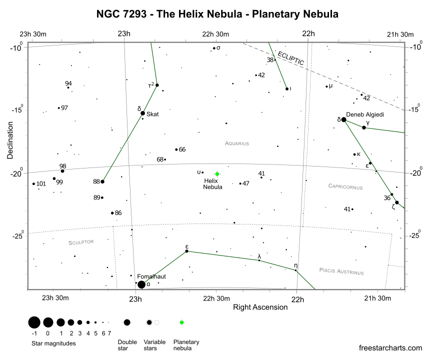 Finder Chart for NGC 7293 (credit:- freestarcharts)