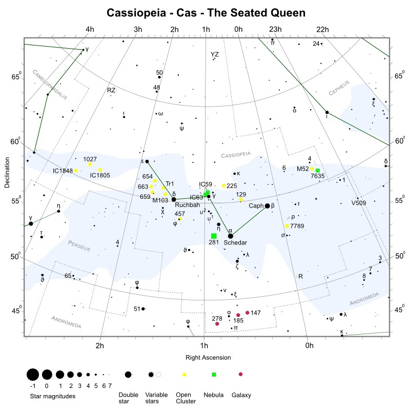 Cassiopeia Star Chart (credit:- freestarcharts)